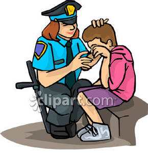 Police Officer Helping A Lost Boy   Royalty Free Clipart Picture