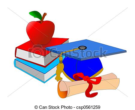 Symbols Of Our School Days With Cap Certifacate Books And An Apple