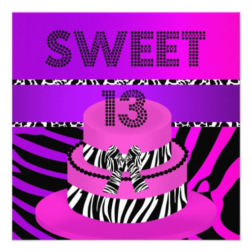 13 13th Birthday Zebra Cake Cow Purple Pink Black White Teen Birthday