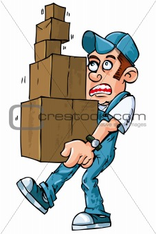 3761438  Cartoon Of Worker Carrying Boxes From Crestock Stock Photos