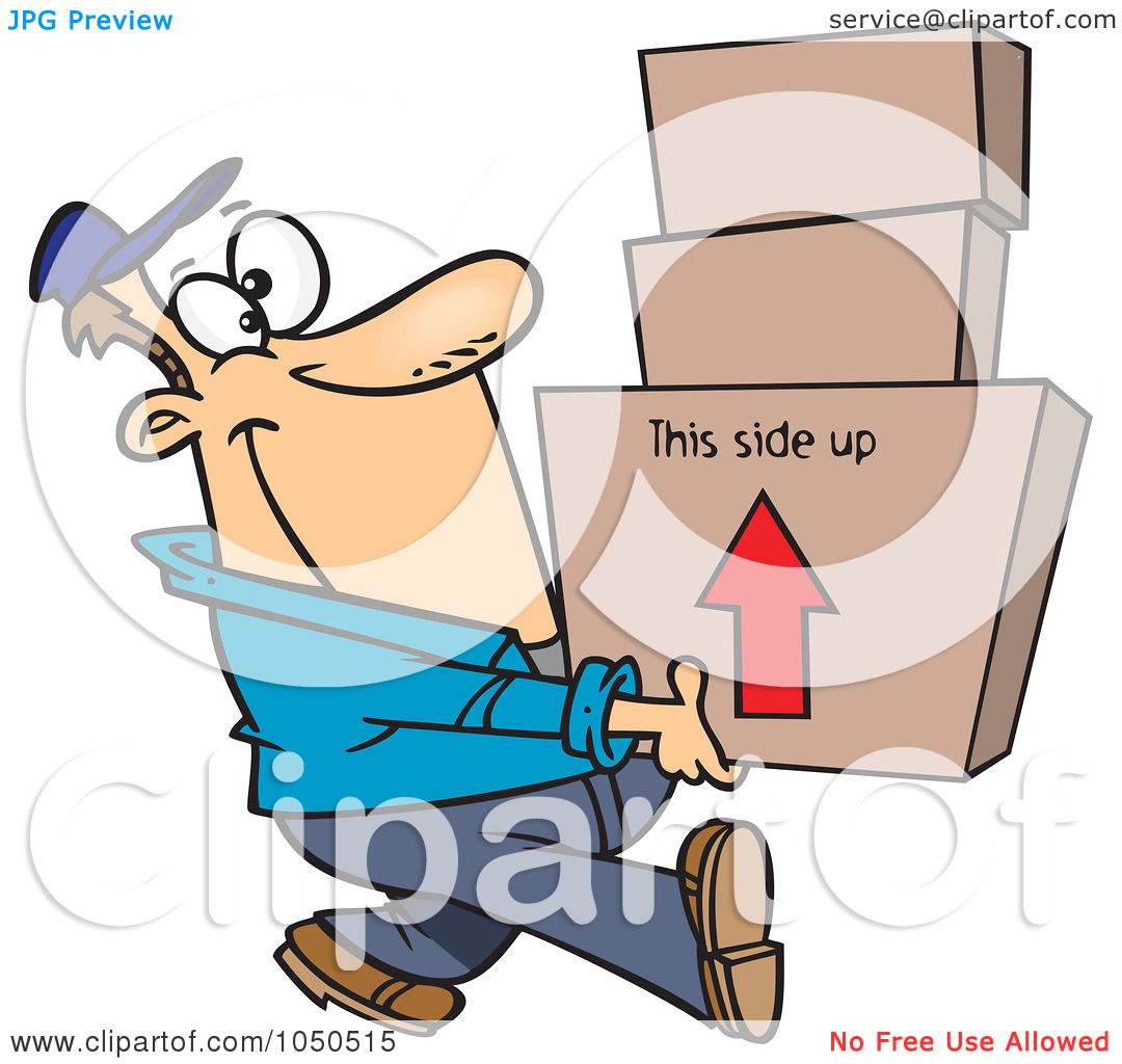 Art Illustration Of A Happy Mover Man Carrying Boxes By Ron Leishman