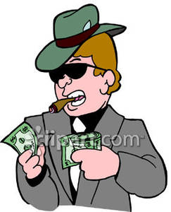 Cigar While Counting His Money   Royalty Free Clipart Picture