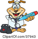 Clipart Illustration Of A Doctor Dog Wearing A Head Lamp And Holding