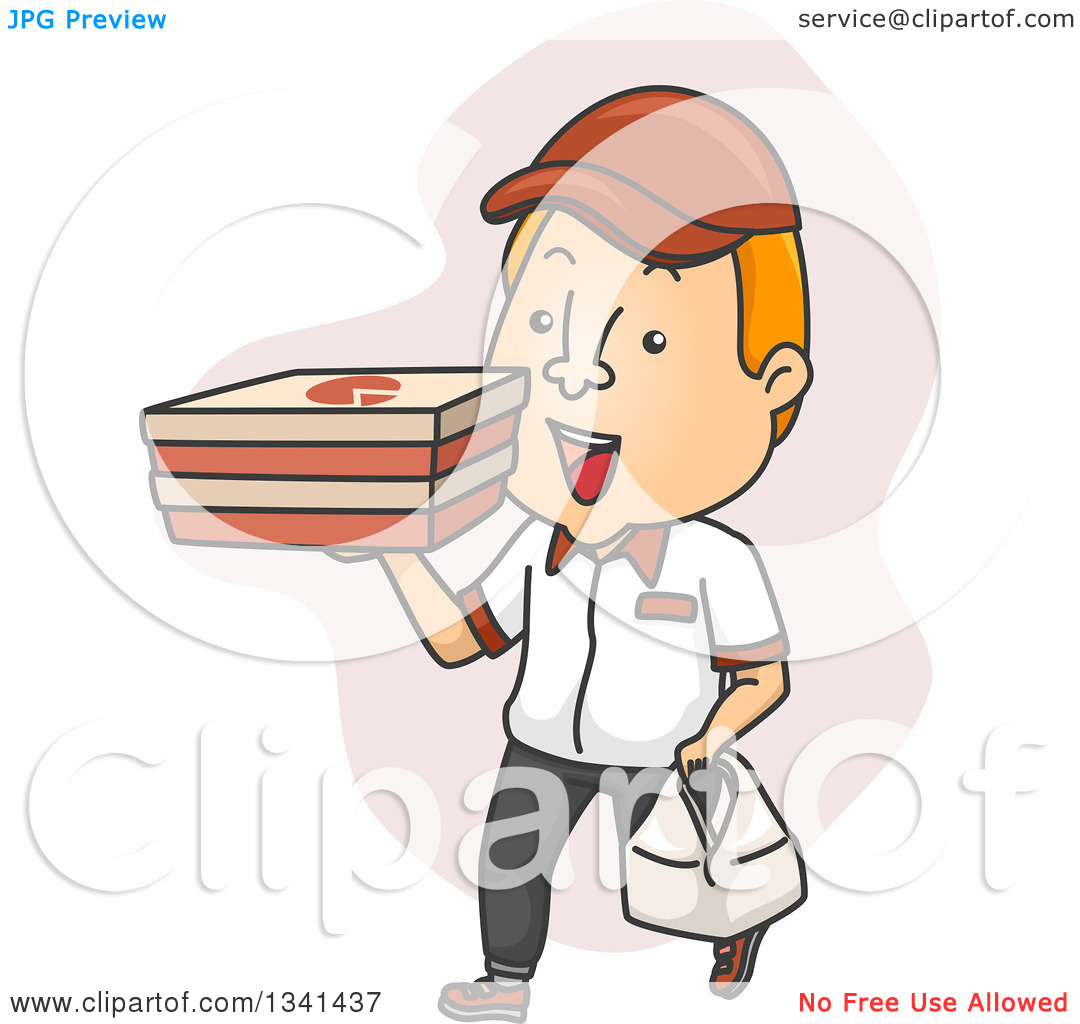 Clipart Of A Cartoon White Male Pizza Delivery Man Carrying Boxes And