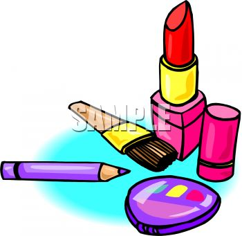 Cosmetics Lipstick And Eyeliner With A Compact   Royalty Free Clip Art