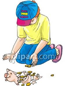 Counting The Money In His Broken Piggy Bank Royalty Free Clipart