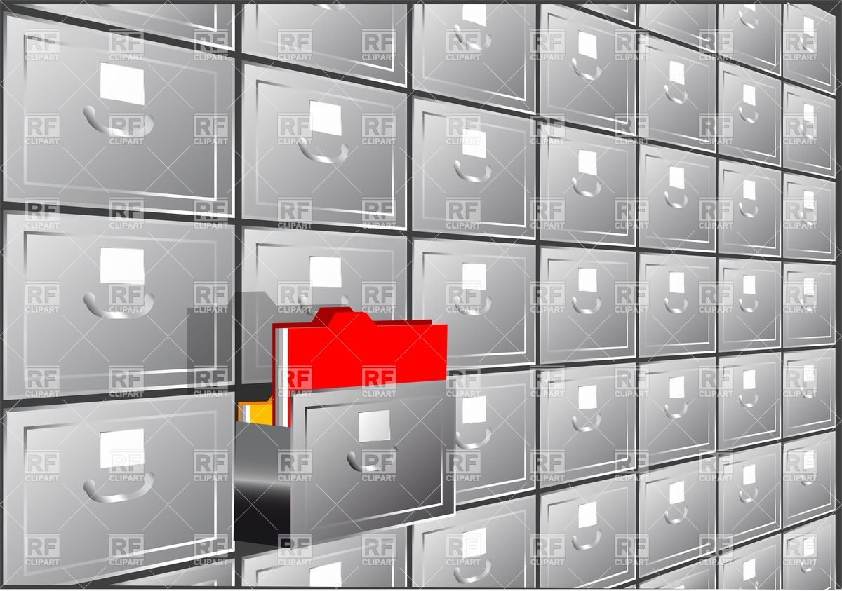 Folder Search  File Cabinet With Half Open Container 25744 Download