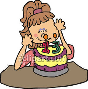 Girl And Her Cake   Royalty Free Clipart Picture
