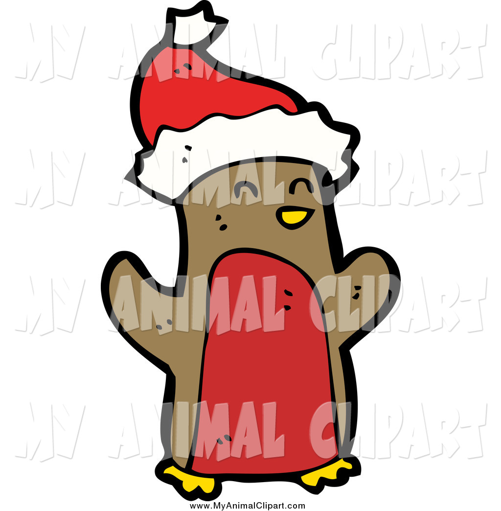 Larger Preview Clip Art Of A Christmas Penguin Wearing Santa Hat By