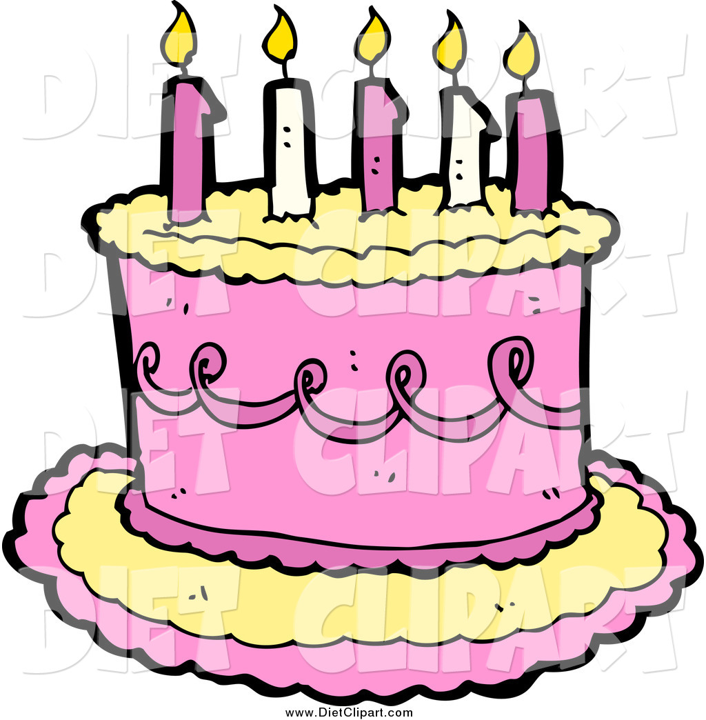 Larger Preview  Diet Clip Art Of A Pink And Yellow Birthday Cake With