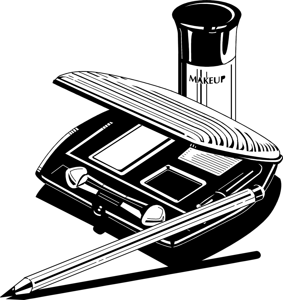 Makeup Clipart Black And White Illustration Of A Makeup Kit