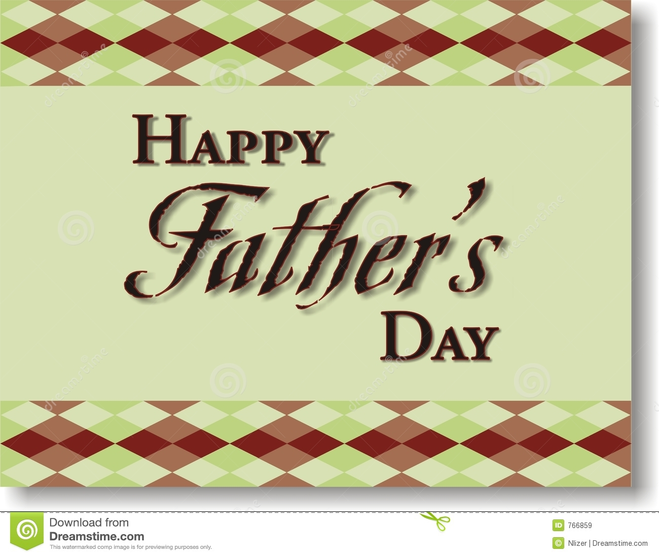 Of Happy Father S Day With A Green Background And Plaid Border