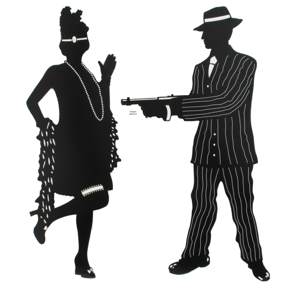 Party Decoration   Gangster Silhouettes Scene Cutouts  20in  Pk5