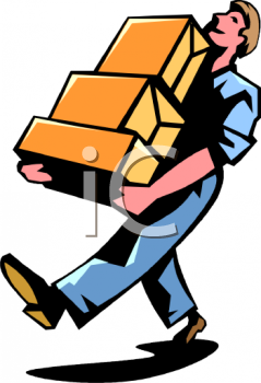 Royalty Free Clipart Image  Man Carrying Some Boxes