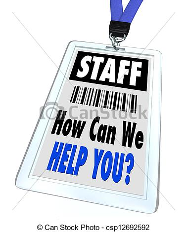 Stock Illustration Of Staff   How Can We Help You   Lanyard And Badge