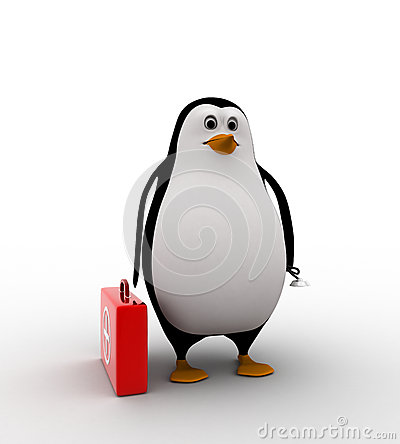 Stock Photos  3d Penguin With Medical Kit Box And Stethoscope Concept