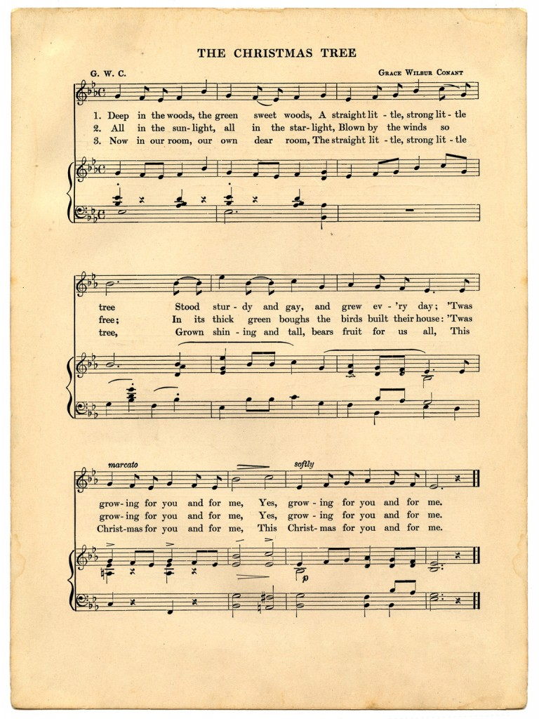 Vintage Christmas Sheet Music Printable   The Graphics Fairy