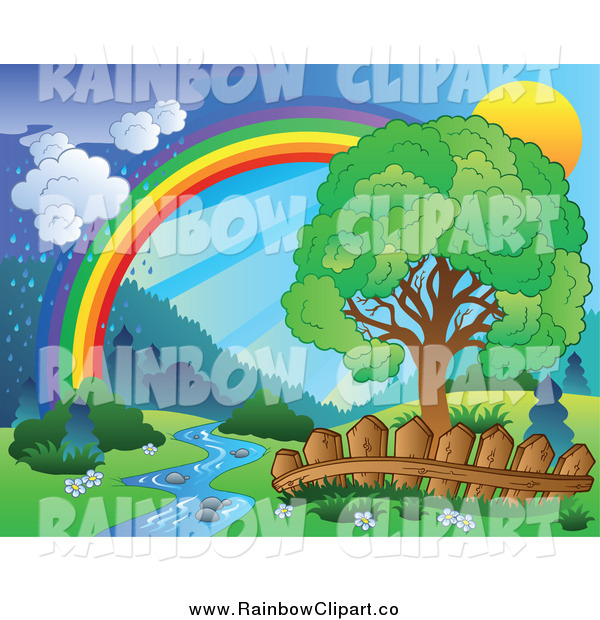 Art Of A Spring Landscape With A Tree Creek Fence Rainbow And Rain