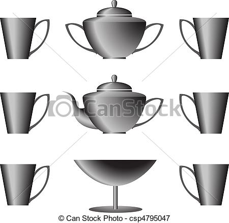 Black Tea Cookware On A White Background Csp4795047   Search Clipart