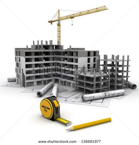 Building Under Construction With Crane On Top Of Blueprints   Stock