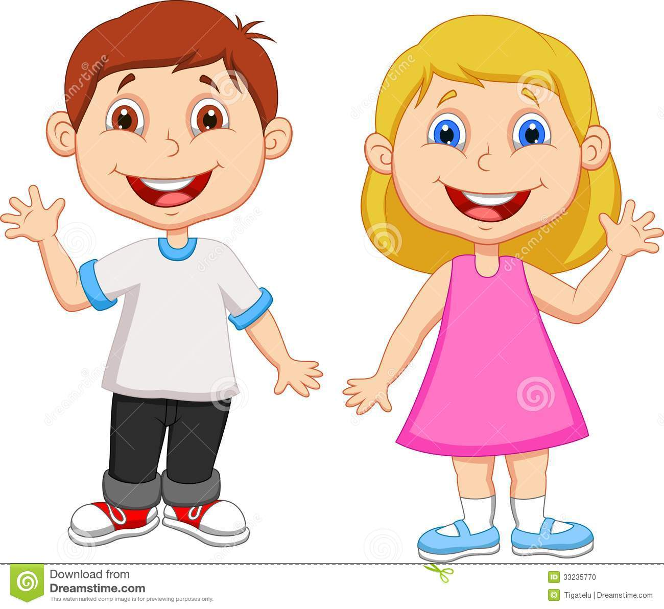 Cartoon Boy And Girl Waving Hand Stock Photo   Image  33235770