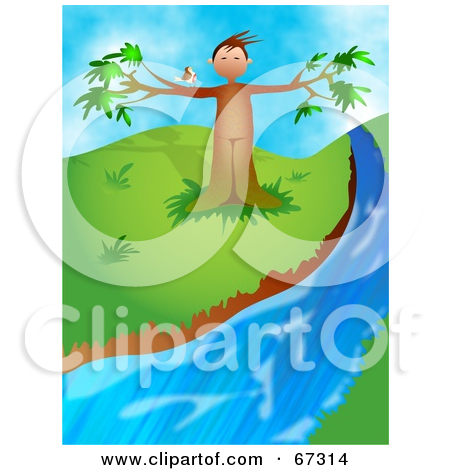 Clipart Illustration Of A Bird Perched On A Tree Man Beside A Creek By