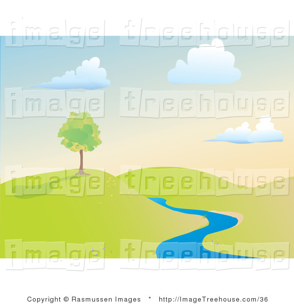 Clipart Of A Creek And Hilly Landscape   Royalty Free By Rasmussen