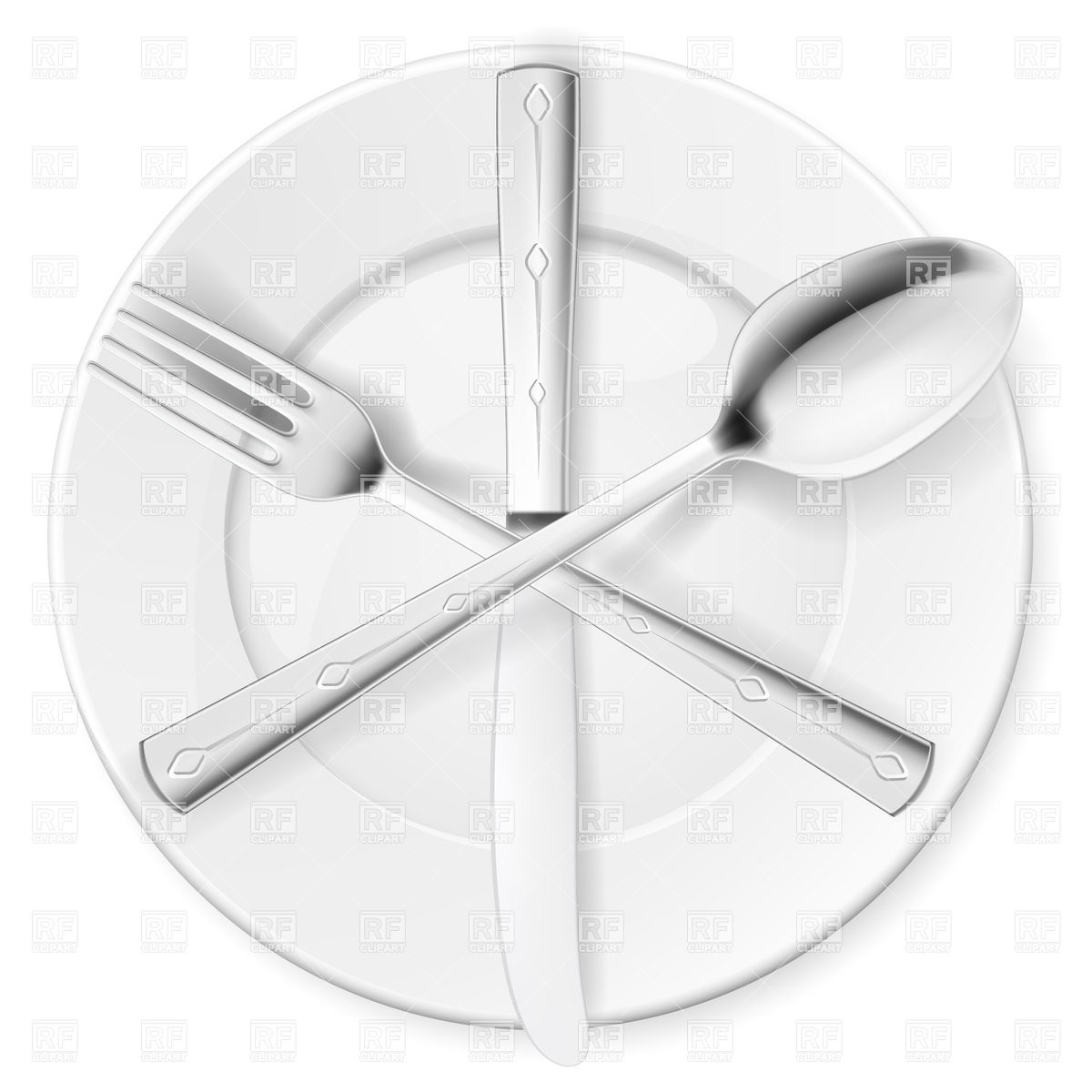 Crossed Fork Spoon And Knife On White Plate 6903 Objects Download