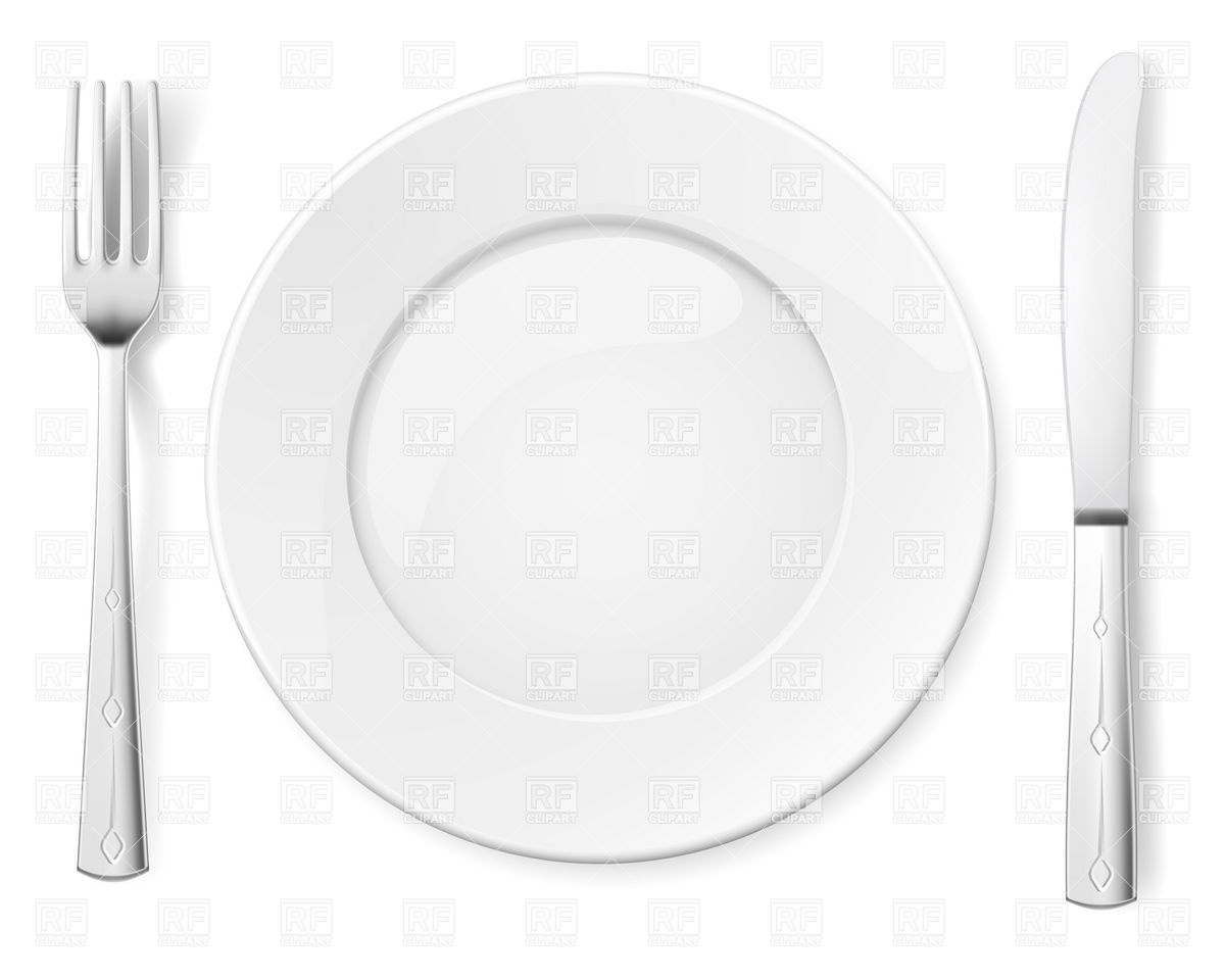 Empty Plate With Knife And Fork   Table Appointments Download Royalty