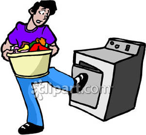 Guy Doing His Laundry   Royalty Free Clipart Picture