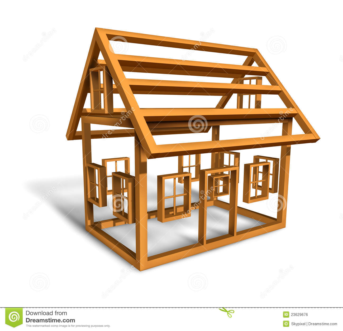 Home Construction With The Wood Frame Structure Of A House Being Built