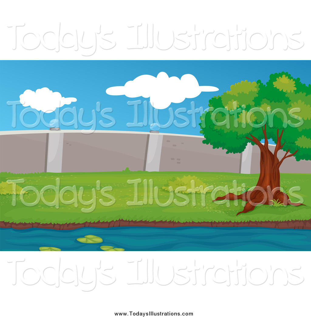 Larger Preview  Clipart Of A Tree Beside A Creek Near A Concrete Wall