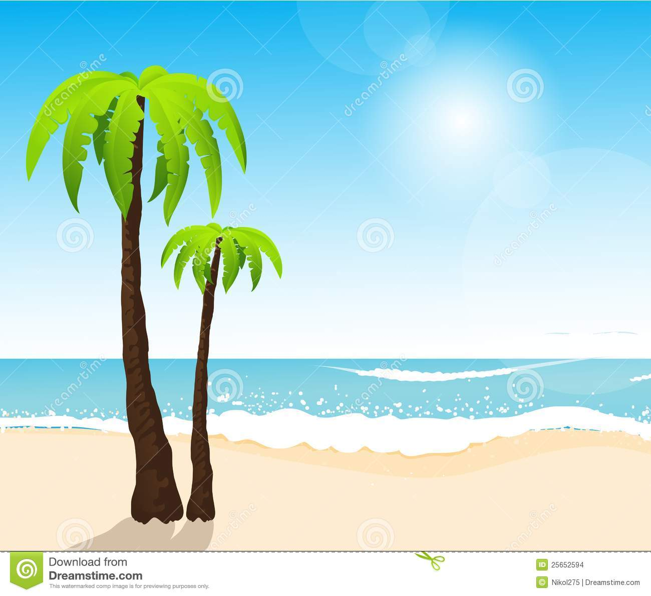 Plam Tree On the Beach Clip Art – Cliparts