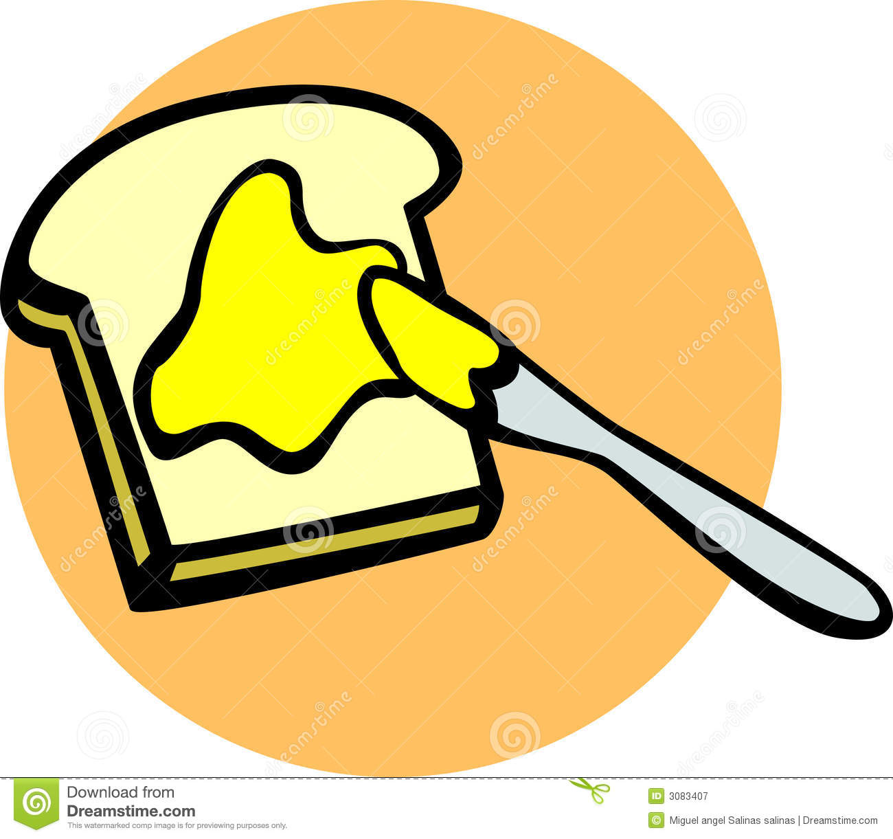 Toast With Butter And Knife Vector Illustration Royalty Free Stock
