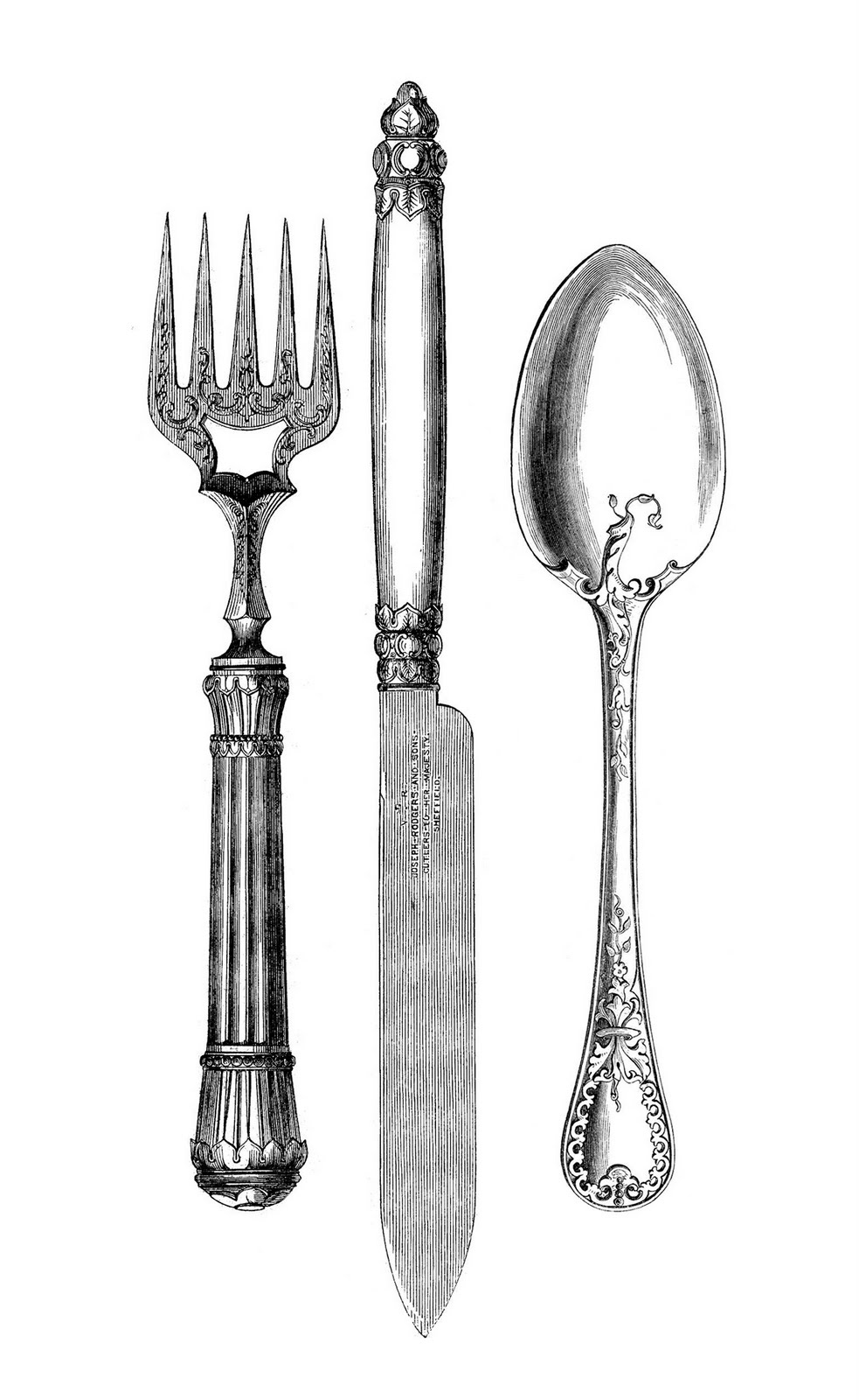 Vintage Kitchen Clip Art   Fork Knife Spoon   The Graphics Fairy