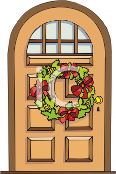 2241 A Christmas Wreath Hanging On A Door Clipart Image Doors Clipart