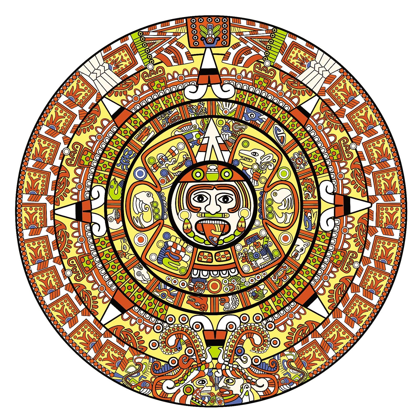 Aztec Calendar Drawing : Aztec calendar clipart suggest