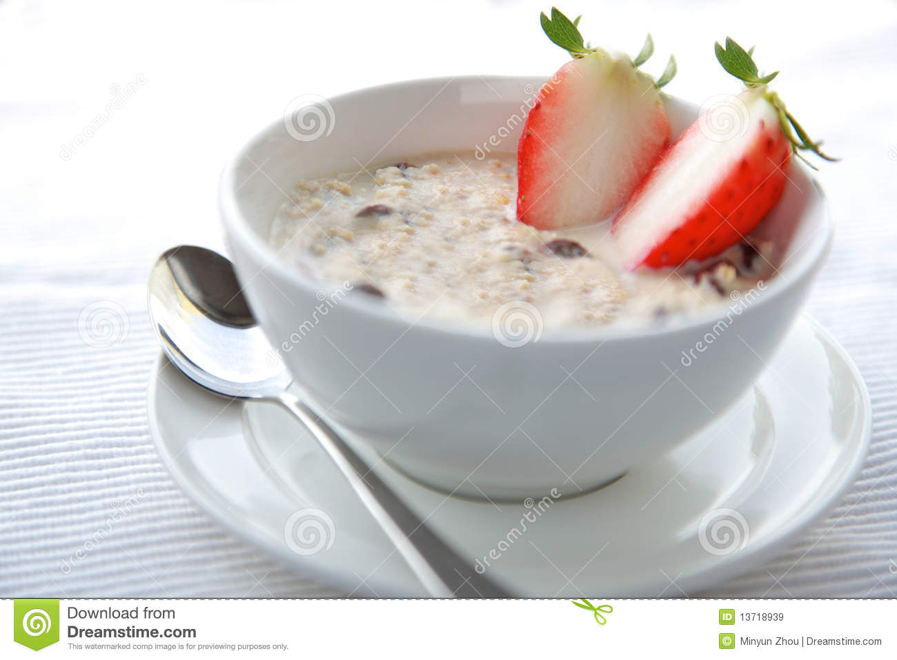 Bowl Of Porridge With Strawberry And Dry Nutshealthy Oatmeal