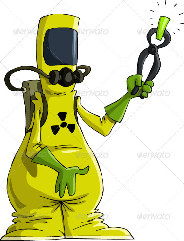 Cartoon Man In Radiation Suit  Isolated Object  No Transparency And