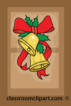 Christmas Clipart   Christmas Bells On Door   Classroom Clipart