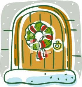 Christmas Wreath Hanging On A Door Clip Art Image