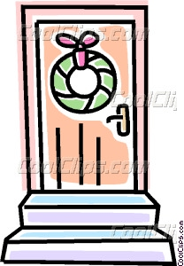 Christmas Wreath On A Door Vector Clip Art