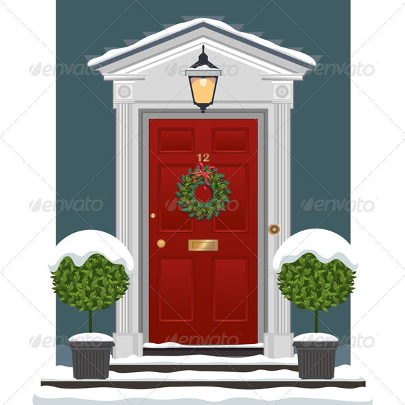 Door With Christmas Wreath And Snow   Buildings Objects