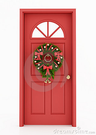 Entrance Door With Christmas Wreath Royalty Free Stock Image   Image
