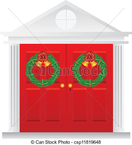 Eps Vector Of Christmas Wreath Hanging On Double Red Door Illustration