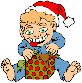 Free Christmas Clipart   Opening Christmas Presents