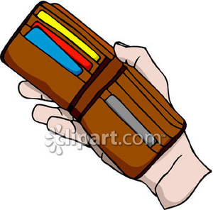 Hand Holding An Open Wallet   Royalty Free Clipart Picture