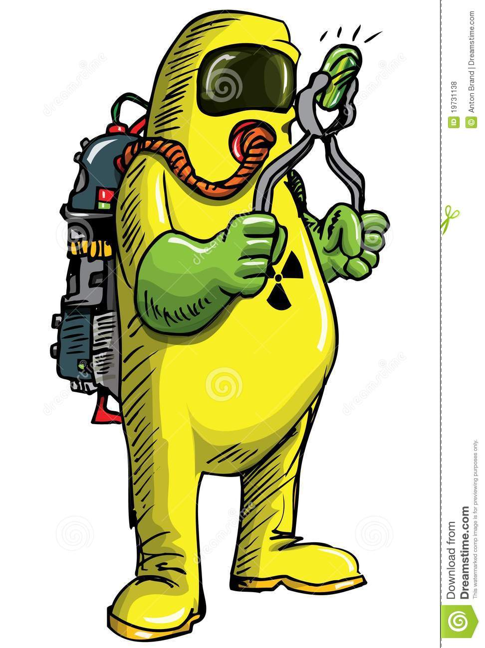 Man In Hazmat Suit Handeling Something Radioactive Royalty Free Stock