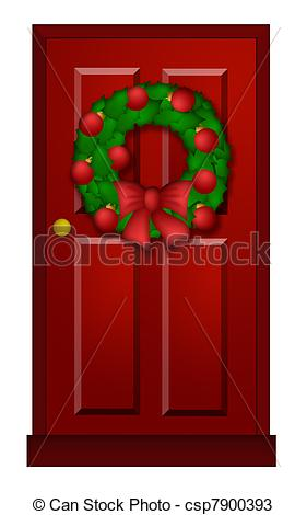 Of Red Door With Christmas Wreath Illustration   House Red Door
