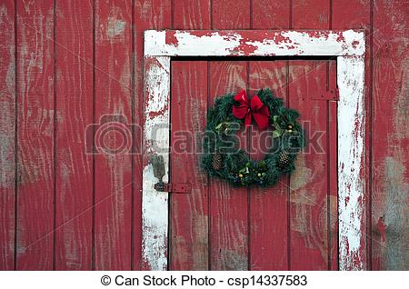 Pictures Of Christmas Wreath On Barn Door   A Christmas Wreath On A